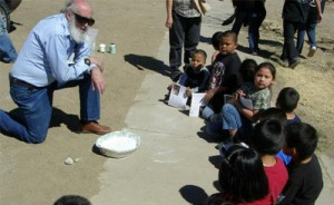 Dr. Daniel A. Klinglesmith out during an astronomy day at an elementary school