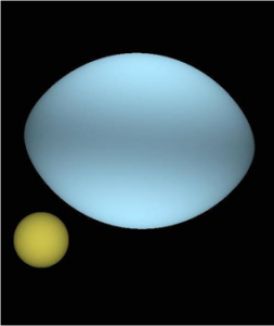 An artist's rendition of the Sun (yellow) and Regulus (blue) based on observations taken with the CHARA interferometric array. MRO/mro