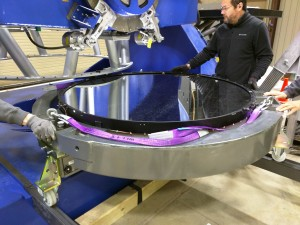 Installation of the 1.4-meter diameter primary mirror